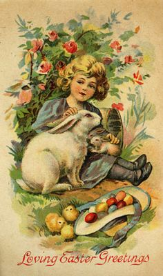 Loving Easter Greetings ~ vintage postcard