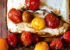 Baked Ricotta and Goat Cheese with Candied Tomatoes - This is AMAZING! I make my own Ricotta to go with this! Queso Ricotta, Baked Ricotta, Goat Cheese Recipes, Baked Cheese, Tomato And Cheese, Food 52, Cherry Tomatoes, So Little Time, Appetizer Recipes