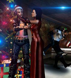 X-MASS EFFECT _ Jack and Miranda by fishbone76.deviantart.com on @deviantART Lol Shepard and Vega in the background
