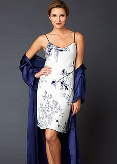 Midnight printed silk nightgown with embroidered trim - Now 20% off: http://www.juliannarae.com/products/midnight_beauty_silk_chemise.htm?categoryID=2&subcategoryID=9&color=MDFL