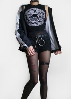 Spell Top and Black Shorts ~ Raeyel's Outfits Grunge Outfits, Emo Outfits, Outfits For Teens, Girl Outfits, Cute Outfits, Fashion Outfits, Grunge Style, Soft Grunge, Dark Fashion