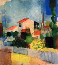 """August Macke was a German painter &  leader of Der Blaue Reiter (""""The Blue Rider""""), an influential group of Expressionist artists. During his first trip to Paris in 1907, he was profoundly influenced by the work of the Impressionist painters, and he began to emulate their style, painting portraits in subtly dappled colors. In 1914 Macke traveled with the Swiss painter Paul Klee to Tunis, Tunisia, where Macke painted a series of works that place the subject upon a grid of various pure colors."""