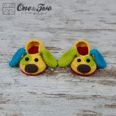 Scrappy the Happy Puppy Slippers Crochet Pattern by One and Two Company
