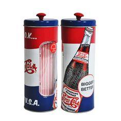 Que tal dar um ar retrô para sua festa com o porta canudos vintage Pepsi?  Ele tem a cara de comemorações com o tema dos anos 60 e anos 70 e é sucesso absoluto entre os amigos. #festa #canudos #compras #portacanudos
