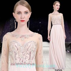 Chiffon Illusion Beaded Formal Evening Dresses With Sleeves Affordable Evening Dresses, Formal Evening Dresses, Evening Dresses With Sleeves, Illusion, Chiffon, Fashion, Silk Fabric, Moda, Formal Evening Gowns