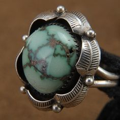 Turquoise Ring - Sterling Silver Ring - Vintage Navajo Jewelry | Alltribes.com