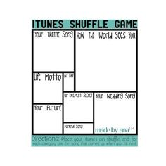 Itunes Shuffle Game [= ❤ liked on Polyvore featuring surveys, backgrounds, templates, fill ins, other, fillers, borders and picture frame