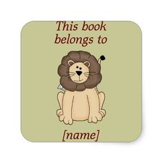 Cute Lion This Book Belongs To Book Plate Sticker