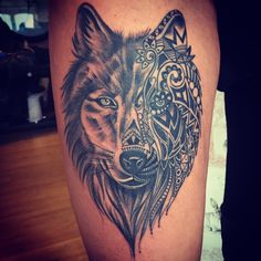 wolf thigh tattoo