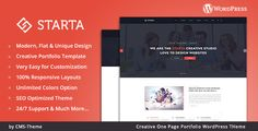 Starta - One Page Portfolio WordPress Theme . Starta – One Page Portfolio WordPress Theme is a uniquely designed website template designed with a flat and modern look. This is a minimal, flat, clean & modern WordPress Theme for anyone who wants to build an amazing & modern portfolio website. It is suitable for any corporate, creative or