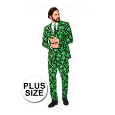 Grote maten pak voor heren met een all-over print in hennep thema. Het pak is gemaakt van hoogwaardig polyester en wordt geleverd met bijpassende stropdas.