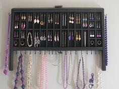 Printer Drawer repurposed: Jewelry Display in distressed black via Etsy.