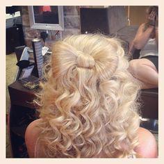 Prom/stand down hair  made all from my own hair thank you Shaun !!! # hairup #hairstyles #curlyhair #bow #cute #loveit #blonde #hair