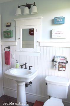Farmhouse Bathroom REVEAL! First Aid and Red Cross themed farmhouse bath breidawithab.com