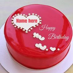 Write Name on Romantic Red Mirror Birthday Heart Cake.Print Name on Lovely Cake For Happy Birthday Wishes.Create Name Bday Cake.Generate Name on Shining Cake Write Name On Cake, Birthday Cake Write Name, Happy Birthday Cake Photo, Birthday Cake Writing, Happy Birthday Flower, Happy Birthday Name, Cake Name, Beautiful Birthday Cakes, Birthday Greetings