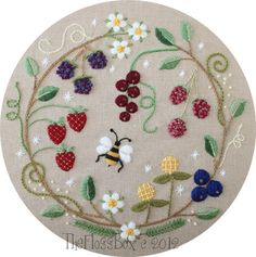 Fruit Wreath Crewel Embroidery by Emily                                                                                                                                                                                 More