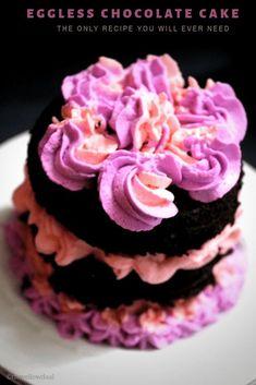 My Favorite Eggless Chocolate Cake Recipe Tasty Vegetarian Recipes, Delicious Cake Recipes, Best Cake Recipes, Yummy Cakes, Veg Recipes, Eggless Chocolate Cake, Chocolate Recipes, Dessert Drinks, Desserts