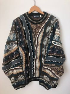 vintage tundra coogi sweater knit brown on Mercari Hippie Outfits, Retro Outfits, Cool Outfits, Casual Outfits, Vintage Outfits, Look Fashion, Fashion Outfits, Quirky Fashion, Mode Emo
