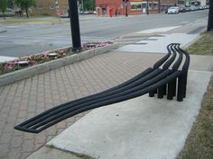 A bus stop bench in downtown Ferndale, Michigan