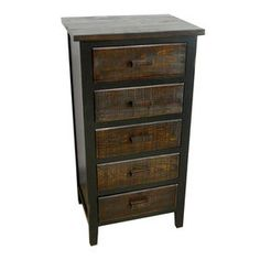 Five Drawer Black Cabinet 19 X 37