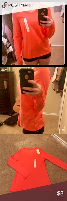 Orange long sleeved v-necked shirt NWT. Just didn't fit me quite right Sonoma Tops Tees - Long Sleeve