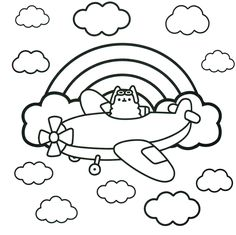 airplane cat pusheen coloring pages