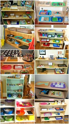 Determined to spruce up my art shelves this year. Loving the extra inspiration! // 10 Fantastic Montessori School Art Shelves!