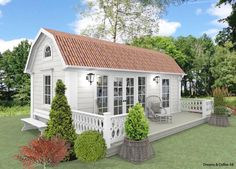 Attefallshus Kristina 25 kvm bygglovsfritt - fasad 1 Outdoor Garden Sheds, Backyard Plan, Cottage Plan, Modern Farmhouse Plans, Dream House Exterior, Small House Design, Small House Plans, House Layouts, Home Fashion
