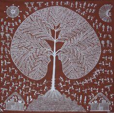 Art des Warli :Offrandes et rituels honorent l'Arbre, symbole de la nature sous la protection des esprits bienveillants Lune et Soleil.