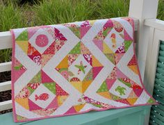 Coastal Baby Quilt with Sealife Applique Pink Yellow by BeachJive, $185.00
