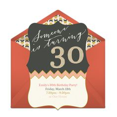 Check out this chevron-inspired free 30th birthday party invitation! We love this for inviting friends to a milestone 30th birthday celebration.