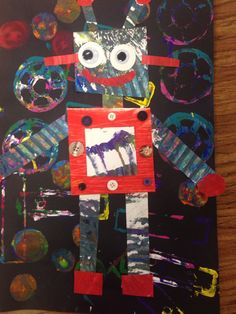 Painted Paper Robot Collage