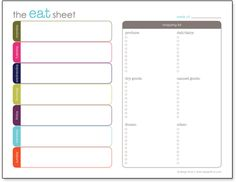 Free Printable Menu Planner and Shopping List @design finch Used it this week. Best one yet.