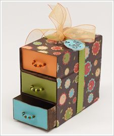 "Matchbox ""chest of drawers."" This would be an inexpensive and adorable favor, stuffed with anything from candies to much more personalized trinkets. For a wedding favor, the outer shell could be made with extra invitations, pics of the bride and groom...the possibilities are endless. Fun Favors http://www.pinterest.com/wineinajug/fun-favors/"