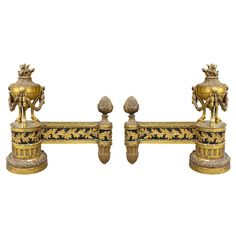Pair of Late 19th/Early 20th Century Louis XVI Style Gilt Chenets | From a unique collection of antique and modern andirons at http://www.1stdibs.com/furniture/building-garden/andirons/