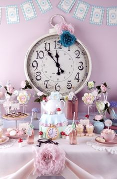 Alice in Wonderland theme party girly party food kids sweets book story fairytale birthday decorations clock theme
