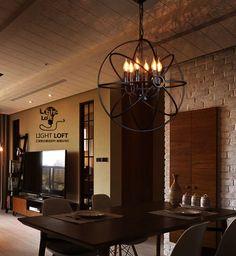 6 Lights Metal Hanging Fixture Industrial Vintage Lighting Ceiling Chandelier