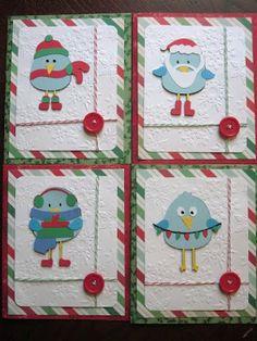 Crafty Gator: 3 Birds on Parade Christmas Cards Cricut
