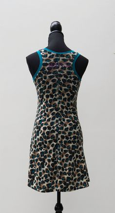 short summer dress: panther print with turkoise by dressedbymind