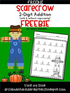 FREEBIE Scarecrow 2 Digit Addition (with & without regrouping) First Grade Lessons, Second Grade Math, Math Lessons, Math Activities, Teacher Resources, First Grade Freebies, Good Luck To You, School Worksheets, Free Math