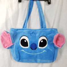 Disney Stitch Large Blue Embroidered Face Plush Shop Purse Book Tote 3D Ears