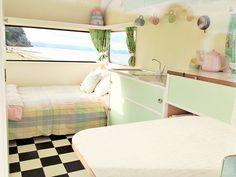 inside a vintage caravan