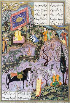 Bizhan receives an invitation through Manizheh's nurs. Folio from the Shahnameh or Book of Kings of Shah Tahmasp, 1525–30. Persian miniature