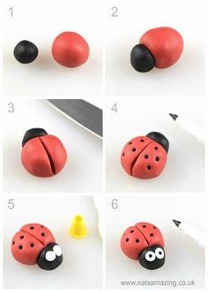 How to make an easy fondant ladybird - fun icing bug toppers for decorating cake. - How to make an easy fondant ladybird - fun icing bug toppers for decorating cake. How to make an easy fondant ladybird - fun icing bug toppers for d. Fondant Toppers, Kids Clay, Clay Art For Kids, Fondant Animals, Fondant Tutorial, Cake Topper Tutorial, Fondant Flowers, Icing Flowers, Fondant Figures