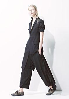 YOHJI YAMAMOTO, S/S 2014 | Short sleeve jacket, long on one side.