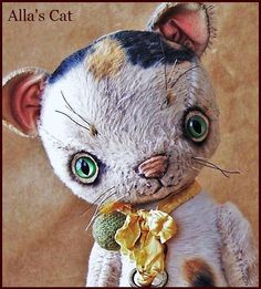 """Reserved for rlgallick by Alla Bears """"made to order"""" TINY 7.5"""" inch Cat original artist ooak Vintage girl collectible handmade toy baby doll"""