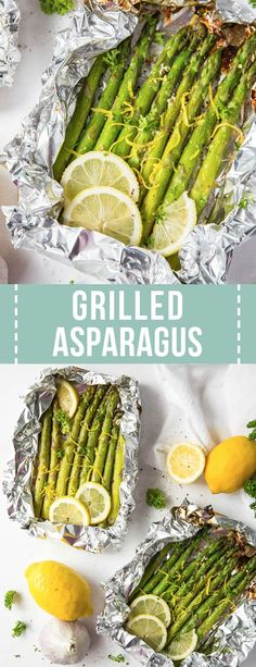 Lemon Garlic Grilled Asparagus is a simple side dish with fresh flavors in under 25 minutes! This grilled asparagus in foil recipe is easy and delicous. Grill Asparagus In Foil, Grilled Asparagus Recipes, Grilled Vegetables, Veggies To Grill, Bbq Vegetables, Best Side Dishes, Healthy Side Dishes, Veggie Dishes, Camping Side Dishes