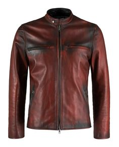 Cafe Racer leather jacket in Distressed Red Italian nappa leather with black leather detail. Made in Italy. By Soul Revolver Cafe Racer Leather Jacket, Men's Leather Jacket, Leather Men, Black Leather, Vintage Leather, Great Mens Fashion, Men's Fashion, Custom Leather Jackets, Sharp Dressed Man