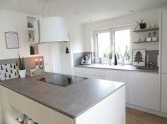 graue Arbeitsplatten und weiße hochglanz fronten | Küchen | Küche ...