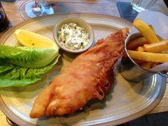 Fish & chips, chunky tartare sauce. Tom Kitchins new Scran & Scallie EDINBURGH.